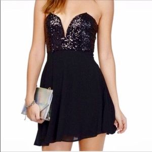 TOBI NWT Black Sequins Mini Party Dress Small